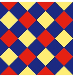 Blue red yellow diamond chessboard background vector