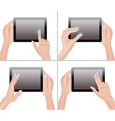 Hands Holding a Tablet Set vector image