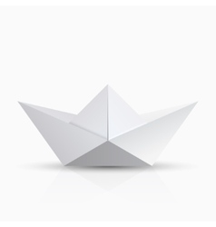 Modern origami boat with shadow on vector