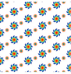 A spiral flowers pattern of different colors vector
