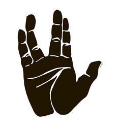 Black silhouette realistic salute vulcan hand vector