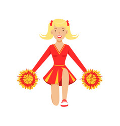 Blond cheerleader teenager girl dancing with red vector