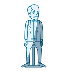 Blue color silhouette shading of man with van dyke vector