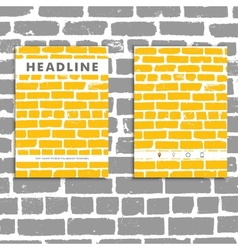 Cover book with background color brickwork vector image