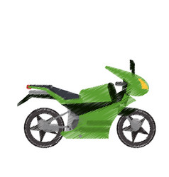 Drawing green motorcycle transport image vector