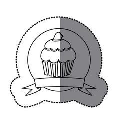 Figure emblem muffin with strawberry icon vector