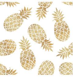 golden pineapples seamless pattern on white vector image vector image