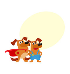 Greeting card banner template with dog characters vector