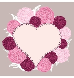 Hand drawn flowers peony arranged un a shape of vector