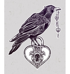 Hand drawn raven bird with heart shaped padlock vector