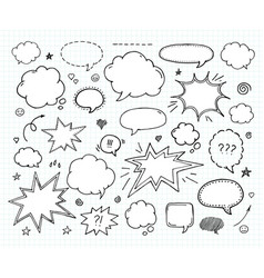 Hand drawn set of speech bubbles and arrows vector