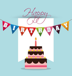 Happy birthday cake colored garland card vector