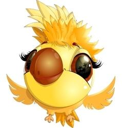 happy yellow bird cartoon flying vector image