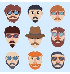 Hipster boy faces vector image vector image
