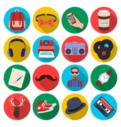 Hipster style set icons in flat style big vector