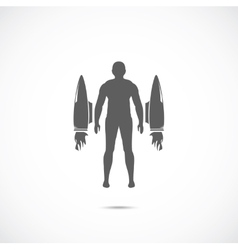 Human with jet engines vector