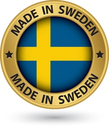 Made in sweden gold label with flag vector