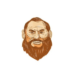 Man bearded face retro vector