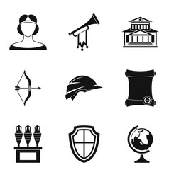 Middle age icons set simple style vector