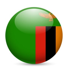 Round glossy icon of zambia vector