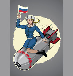 russian pin up girl ride a nuclear bomb vector image vector image