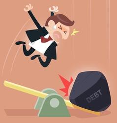 Scale between businessman and debt burden vector