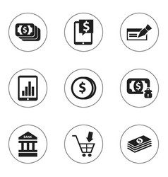 set of 9 editable financial icons includes vector image