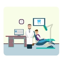 Set of flat colorful dentist office interior vector