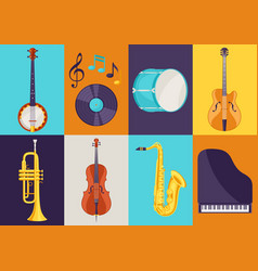 Set of musical instruments jazz blues and vector