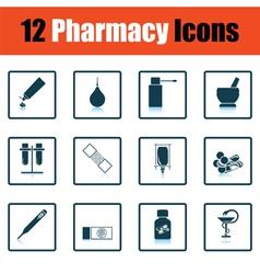 Set of twelve pharmacy icons vector