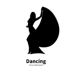 Silhouette dancing girl dancer bollywood dance vector