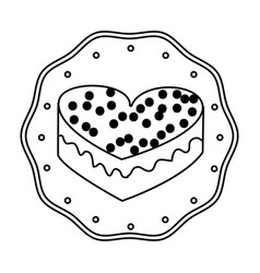 silhouette frame dotted with heart shape cake vector image