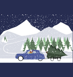 snowman drives in a retro car on a winter road vector image