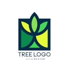 tree logo original design green eco bio badge vector image vector image