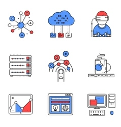 Web services line icons set vector image
