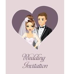 Wedding invitation happy couple vector