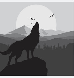 Wolf howling background in grey color vector