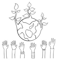 World hand draw earth day vector