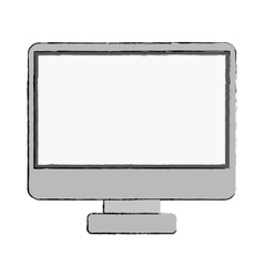 Monitor monochrome screen with base vector