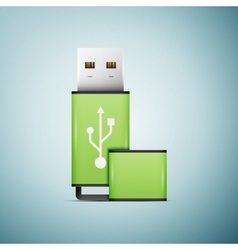 Green usb flash drive icon isolated on blue vector
