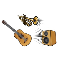 Musical instruments-trumpet guitar and speaker vector