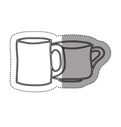 Sticker silhouette set collection porcelain cups vector