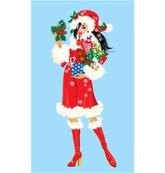 Brunette Christmas Girl wearing Santa Claus suit vector image