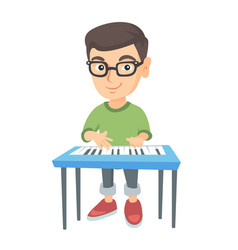 little caucasian boy playing the piano vector image