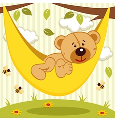 Teddy bear on hammock vector