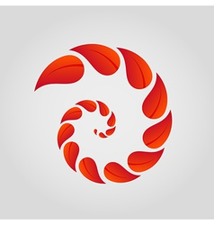 Spiral of red leaves vector