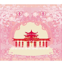 Abstract card with asian buildings vintage frame vector