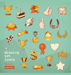 Awards and achievement drawing set icons vector