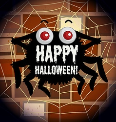 Happy halloween poster with spider web vector