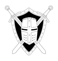 Two crossed swords shield and helmet emblem vector